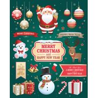 Autocollant Kit De Noël Merry Christmas New Year 2