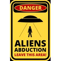 Autocollant Panneau Danger Alien Enlèvement