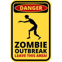 Autocollant Panneau Danger Zombie