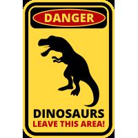 Autocollant Panneau Danger Dinosaure