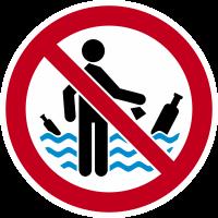 """Autocollant Panneau Interdiction De Jeter Déchets Dans L""""eau"""