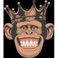 Autocollant Singe Chimpanzé Roi