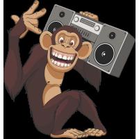 Autocollant Singe Chimpanzé Musique