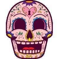 Autocollant Tête De Mort Mexiciane Drôle Rose