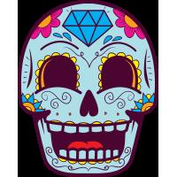 Autocollant Tête De Mort Mexiciane Drôle Bleu