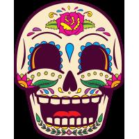 Autocollant Tête De Mort Mexiciane Drôle Beige