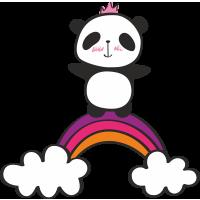 Autocollant Panda Arc En Ciel Couronne