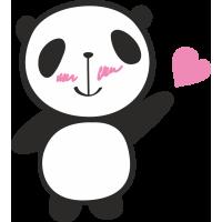 Autocollant Panda Cœur