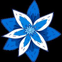 Autocollant Fleur Bleu Foncé