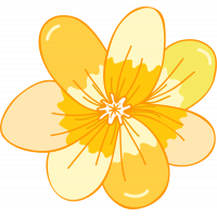 Autocollant Fleur Jaune