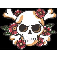 Autocollant Tête De Mort Petites Fleurs