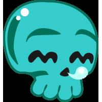 Autocollant Tête De Mort Drôle Bleu Turquoise