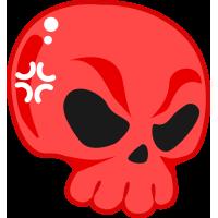 Autocollant Tête De Mort Drôle Rouge