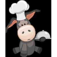 Autocollant âne Mignon Chef