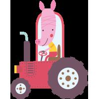 Autocollant Tracteur Cochon Enfant