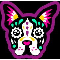 Autocollant Chien Skull Coloré Violet