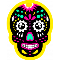 Autocollant Skull Coloré Jaune