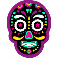 Autocollant Skull Coloré Violet