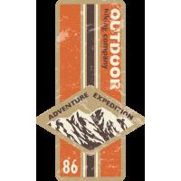 Autocollant Vintage Adventure Montagne