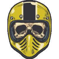 Autocollant Vintage Skull Motard