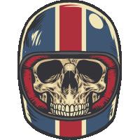 Autocollant Vintage Skull Motard 2