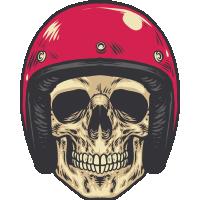 Autocollant Vintage Skull Motard 3