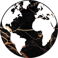 Sticker Monde Mappemonde Globe Doré