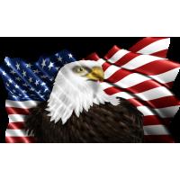 Autocollant Drapeau Américain Aigle