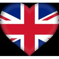 Autocollant Drapeau Royaume-Uni coeur