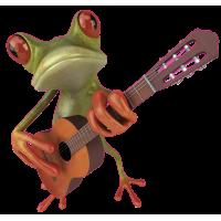 Autocollant Grenouille Guitariste