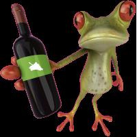 Autocollant Grenouille Vin