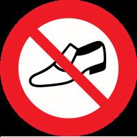 Panneau Interdiction de porter des chaussures