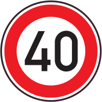 Panneau Interdiction Limite vitesse 40km/h