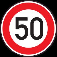 Panneau Interdiction Limite vitesse 50km/h