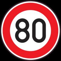 Panneau Interdiction Limite vitesse 80km/h