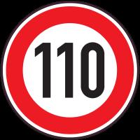 Panneau Interdiction Limite vitesse 110km/h