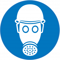 Panneau Obligation Porter casque de sécurité et masque anti-gaz