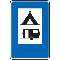 Panneau Indication Camping tente caravane
