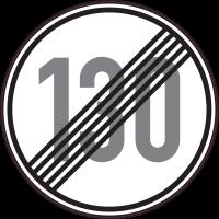 Panneau Indication Fin limitation vitesse 130km/h