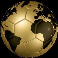 Autocollant Ballon Foot Coupe du Monde Doré