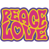 Sticker Peace and Love 70's 2