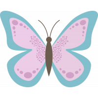 Autocollant Papillon Rose Bleu