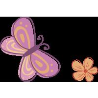 Autocollant Papillon Fleur 2