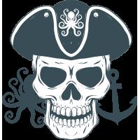 Autocollant Pirate Skull Pieuvre