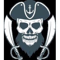 Autocollant Pirate Skull Sabre