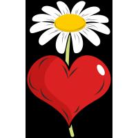 Autocollant Fleur Marguerite Cœur