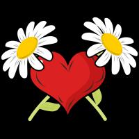 Autocollant Fleur 2 Marguerites Cœur