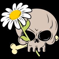 Autocollant Fleur Marguerite Skull