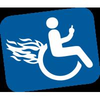 Autocollant Handicapé Flammes