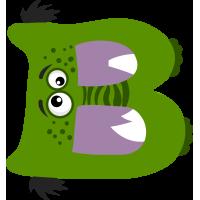 Autocollant Alphabet Enfant Monstre B